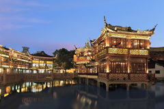Shanghai yuyuan night scene. Shanghai yuyuan mid-lakepavilion night scene Stock Photography