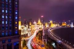 Shanghaii Bund nocy scena Fotografia Royalty Free