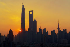 Shanghay skyline. Shanhghai is a huge coaslti city, one of the most modern in the world Royalty Free Stock Photo