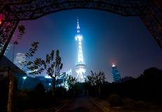 Shanghi Skyline nachts Stockfotografie