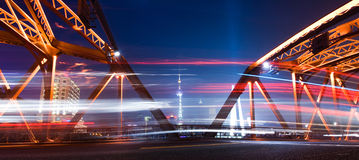 Shanghi skyline at night Stock Photo