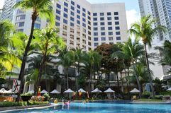 The Shangri La Hotel Manila. The shangri la hotel in Manila places the tropics right in the urban are of Manila Philippines Royalty Free Stock Photo