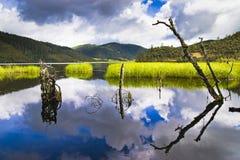 Shangri-La and lake Stock Photo