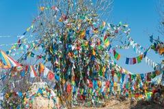 SHANGRILA, ΚΙΝΑ - 13 ΜΑΡΤΊΟΥ 2015: Σημαία προσευχής στο ναό Baiji Μια ηλεκτρική κιθάρα Φ Στοκ Φωτογραφία