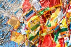 SHANGRILA, КИТАЙ - 13-ОЕ МАРТА 2015: Флаг молитве на виске Озёрныйого дельфина Гитара stratocaster F Стоковое Изображение RF