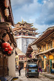 SHANGRILA CHINA april 14 2016 golden temple in old town.CR2. SHANGRILA, CHINA, april 14, 2016: view of the golden temple in historical old town in chinese city royalty free stock photo