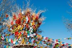 SHANGRILA, CHINA - 13 DE MARÇO DE 2015: Bandeira da oração no templo de Baiji Uma guitarra elétrica do stratocaster do F Imagem de Stock Royalty Free