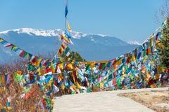 SHANGRILA, CHINE - 13 MARS 2015 : Drapeau de prière au temple de Baiji Une guitare électrique de stratocaster de F Photographie stock
