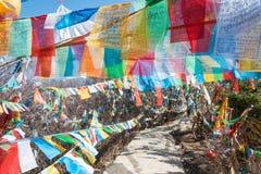 SHANGRILA, CINA - 13 MARZO 2015: Bandiera di preghiera al tempio di Baiji Una chitarra elettrica dello stratocaster del F Fotografia Stock Libera da Diritti