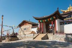 SHANGRILA, CINA - 13 MARZO 2015: Tempio di Baiji a Shangrila vecchio a Fotografia Stock Libera da Diritti