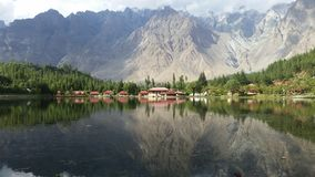 Shangrilla. Shangrila Lake is also known as Lower Kachura Lake. It is a part of the Shangrila resort stock photography