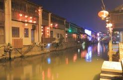 Shangtang dziejowy teren i kanał nocy pejzaż miejski Suzhou Chiny Obraz Stock