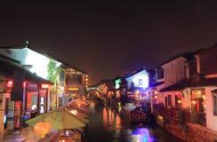 Shangtang dziejowy teren i kanał nocy pejzaż miejski Suzhou Chiny Obrazy Stock