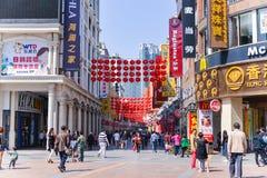 Shangxia jiu步行购物街道是主要购物街道在广州 免版税库存照片