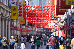Shangxia jiu步行购物街道是主要购物街道在广州 免版税库存图片