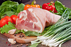Shank of Pork. With vegetables Stock Photos