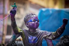 A Joyful moment of the holi The Festival of Colours in Shakhari bazar, Dhaka, Bangladesh. Shankhari Bazar is located near the intersection of Islampur Road and Stock Images