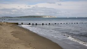Shanklin Isle of Wight beach and sea lapping in Royalty Free Stock Photos