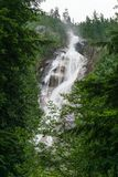 Shannon Falls near Squamish, BC, surrounded by trees. Royalty Free Stock Photo