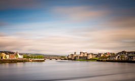 Shannon river in Limerick. View of the Shannon river and the King Johns Castle, Limerick, Ireland Royalty Free Stock Photo
