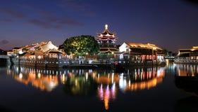 Night of Suzhou city, Jiangsu, China. Shantang, landmark of Suzhou, traditional buildings by river, panoramic view, sunset scene stock image