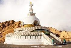 Shanti Stupa在Leh拉达克,印度 库存照片