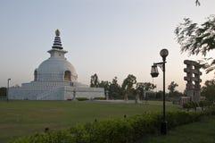 SHANTI STUPA寺庙,新德里,印度 图库摄影