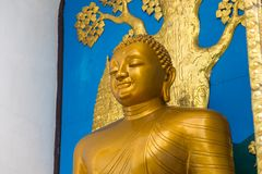 Shanti Stupa的细节在一个小山顶的在阿南达小山在博克拉 库存图片