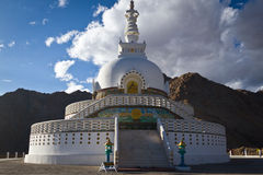 Shanti Stupa, Leh, Ladakh,印度 免版税图库摄影