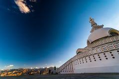 Shanti Stupa also known as Peace Pagoda on hiitop of Chanspa , Leh town, Stock Photo