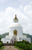 Shanti Stupa on Ananda hilltop of Pokhara valley Stock Photos