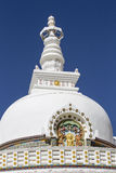 Shanti Stupa is a Buddhist white domed stupa in Leh, India Stock Photos