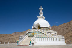 Shanti Stupa is a Buddhist white domed stupa in Leh, India Royalty Free Stock Photos