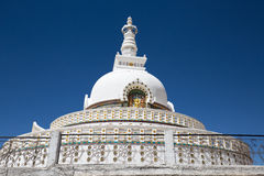Shanti Stupa is a Buddhist white domed stupa in Leh, India Stock Photography