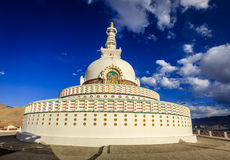 Shanti Stupa. On the hilltop in the city of Leh, Kashmir, India Stock Photography