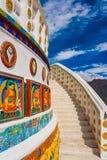 Shanti Stupa i Leh, buddistisk monument, Ladakh, Indien Fotografering för Bildbyråer