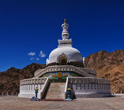 Shanti stupa in Leh. With blue sky stock image