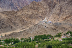 Shanti Stupa,Leh Ladakh. Shanti Stupa is a Buddhist white-domed stupa on a hilltop in Chanspa, Leh district, Ladakh, in the north Indian state of Jammu and Royalty Free Stock Photo