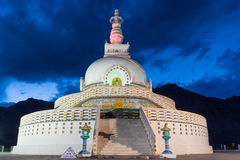 Shanti Stupa,Leh Ladakh. Shanti Stupa is a Buddhist white-domed stupa on a hilltop in Chanspa, Leh district, Ladakh, in the north Indian state of Jammu and Stock Photo