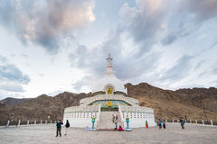 Shanti Stupa,Leh Ladakh. Shanti Stupa is a Buddhist white-domed stupa on a hilltop in Chanspa, Leh district, Ladakh, in the north Indian state of Jammu and Stock Photos