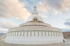 Shanti Stupa,Leh Ladakh.Light and shade from sunset. Royalty Free Stock Photo