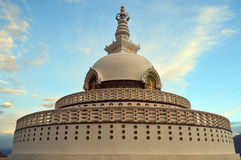 Shanti Stupa, Leh. Shanti Stupa is a white-domed Buddhist stupa on a hilltop in Chanspa, Leh district, Ladakh, Jammu and Kashmir, India. It was built in 1991 Stock Photos