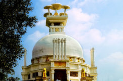 Shanti stupa: peace pagoda dedicated to lord Buddha. Landscape view of the iconic onion dome of the Shanti stupa or the peace pagoda located at Dhauri hills (a Stock Image