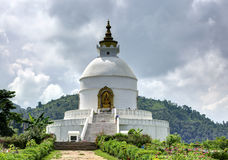 Shanti Stupa at Pokhara Stock Photo