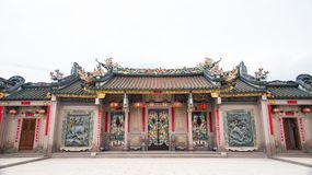Shantou, China-October 21,2017: The Chinese building style, the. Art on the door  and roof  are about belief Chinese`s god Royalty Free Stock Photos