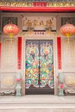 Shantou, China-October 21,2017: The Chinese building style, the. Art on the door  and roof  are about belief Chinese`s god Stock Images