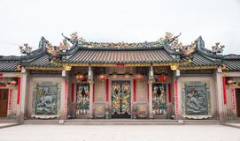 Shantou, China-October 21,2017: The Chinese building style, the. Art on the door  and roof  are about belief Chinese`s god Stock Image