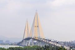 Shantou stad, för Queshi för Guangdong landskap landskap bro royaltyfri foto
