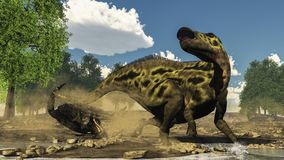 Shantungosaurus defending from tarbosaurus. Dinosaur attack thanks to its queue next to gingko trees by day - 3D render Stock Photo