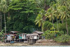Shanty homes in Philippines. Shanty wooden homes in Kalikud island, Philippines Royalty Free Stock Photos